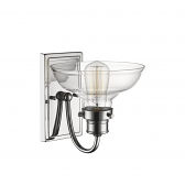 """Chrome Sconce Light Wide Base Clear Glass 8""""Wx9""""H"""