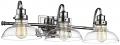 "Industrial Chrome Bathroom Vanity Wall Light Clear Glass Shades 26""Wx8""H - Sale !"