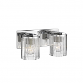 """Chrome Bathroom Wall Light Clear Fluted Cylinder Glass 14""""Wx6""""H"""