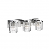 """Chrome Bathroom Wall Light Clear Fluted Cylinder Glass 22""""Wx6""""H"""