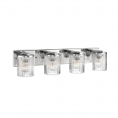 """Chrome Bathroom Wall Light Clear Fluted Cylinder Glass 30""""Wx6""""H"""