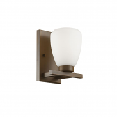 """Rubbed Bronze Sconce Light Etched White Glass 7""""Wx9""""H"""