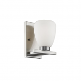 """Satin Nickel Sconce Light Etched White Glass 7""""Wx9""""H"""