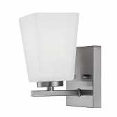 """Brushed Nickel Sconce Light Square White Glass 4""""Wx7""""H"""