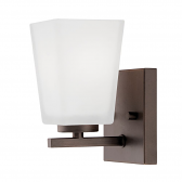 """Rubbed Bronze Sconce Light Square White Glass 4""""Wx7""""H"""