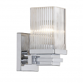 """Chrome Sconce Light Clear Fluted Square Glass 7""""Wx7""""H"""