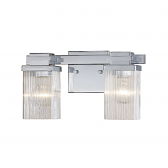 """Chrome Bathroom Wall Light Clear Fluted Square Glass 13""""Wx7""""H"""