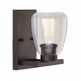 """Rubbed Bronze Sconce Light Clear Glass Shade 7""""Wx9""""H"""