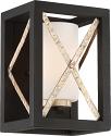 "Boxer Matte Black & Antique Silver Sconce Light White Glass 7""Wx10""H"