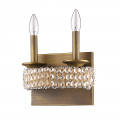 "Ava Modern Raw Brass Crystal Wall Sconce Light 9""Wx8""H"