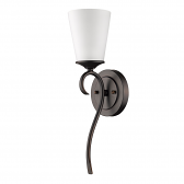 """Genevieve Oil Rubbed Bronze Glass Shade Sconce 5""""Wx18""""H"""