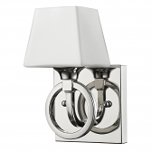 "Josephine Polished Nickel Glass Shade Wall Sconce 4""Wx7""H"