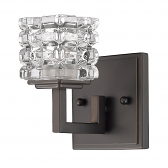 """Caralie ORB Bronze Crystal Wall Sconce 4""""Wx6""""H"""