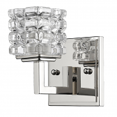 """Caralie Polished Nickel Crystal Wall Sconce 4""""Wx6""""H"""
