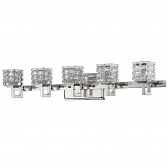 """Caralie Polished Nickel Crystal Wall Light 30""""Wx6""""H"""