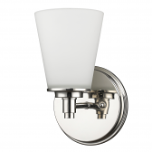 """Conti Polished Nickel Glass Shade Wall Sconce 6""""Wx10""""H"""