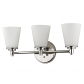 """Conti Polished Nickel Wall Light Glass Shade 22""""Wx10""""H"""