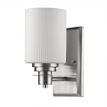 "Amelia Satin Nickel Glass Shade Wall Light 5""Wx9""H"