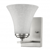 "Union Satin Nickel Glass Shade Wall Sconce 6""Wx8""H"