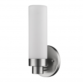 "Valmont Satin Nickel Drum Glass Wall Sconce 5""Wx10""H"