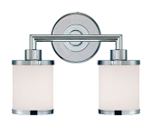 """Chrome Bathroom Wall Light Etched White Drum Glass 13""""Wx10""""H"""