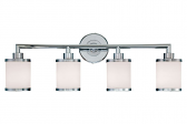 """Chrome Bathroom Wall Light Etched White Drum Glass 30""""Wx10""""H"""
