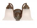 """Bronze Bathroom Wall Light Alabaster Bell Glass 21""""x8""""H"""