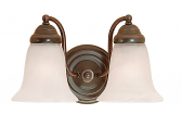 "Bronze Bathroom Wall Light Alabaster Bell Glass 21""x8""H"