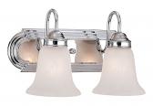 "Chrome Bathroom Wall Light Alabaster Glass 14""Wx8""H"