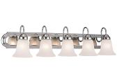 "Chrome Bathroom Wall Light Alabaster Glass 36""Wx8""H"