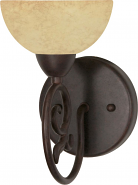 """Tapas Old Bronze Suede Glass Sconce Light 5""""Wx9""""H"""
