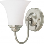 """Dupont Brushed Nickel Wall Light Bell Glass Shades 6""""Wx8""""H"""