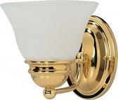 "Empire Polished Brass Sconce Light Alabaster Glass 6""Wx6""H"