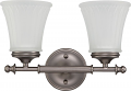 "Teller Aged Pewter Wall Light Glass Shades 13""Wx9""H"