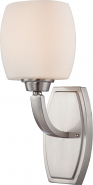 """Helium Brushed Nickel Satin Glass Sconce Light 6""""Wx13""""H"""