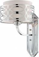 """Harlow Polished Nickel Drum Shade Sconce Light 9""""Wx14""""H"""