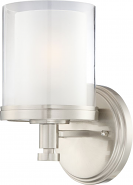 """Decker Brushed Nickel Drum Dual Glass Wall Sconce Light 6""""Wx10""""H"""