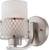 """Fusion Brushed Nickel Drum Shade Sconce Light 5""""Wx7""""H"""