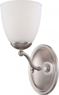"Patton Brushed Nickel Sconce Light Glass Shade 5""Wx11""H"