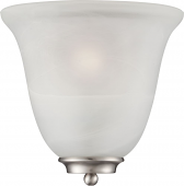 """Empire Brushed Nickel Alabaster Glass Half Shade Wall Sconce 10""""Wx10""""H"""