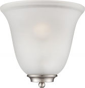 """Empire Brushed Nickel Frosted Glass Half Shade Wall Sconce 10""""Wx10""""H"""