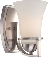 "Neval Brushed Nickel White Glass Sconce Light 5""Wx8""H"