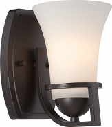 "Neval Bronze White Glass Sconce Light 5""Wx8""H"