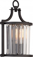 "Krys Aged Bronze Crystal Wall Sconce Light Vintage Bulb 8""Wx13""H"