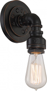 "Koncept Antique Bronze Piping Industrial Sconce Light 5""Wx7""H"