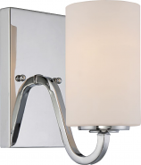 "Willow Polished Nickel Sconce Light Glass Shade 4""Wx7""H"