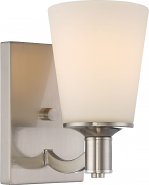 "Laguna Brushed Nickel White Glass Wall Sconce Light 5""Wx8""H"