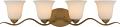 """Dillard Natural Brass Wall Light Bell Glass Shades 32""""Wx7""""H"""