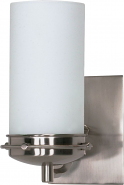 "Polaris Brushed Nickel Opal Glass Sconce Light 4""Wx8""H"