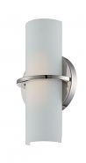 "Tucker LED Polished Nickel Opal Glass Sconce Light 6""Wx11""H"